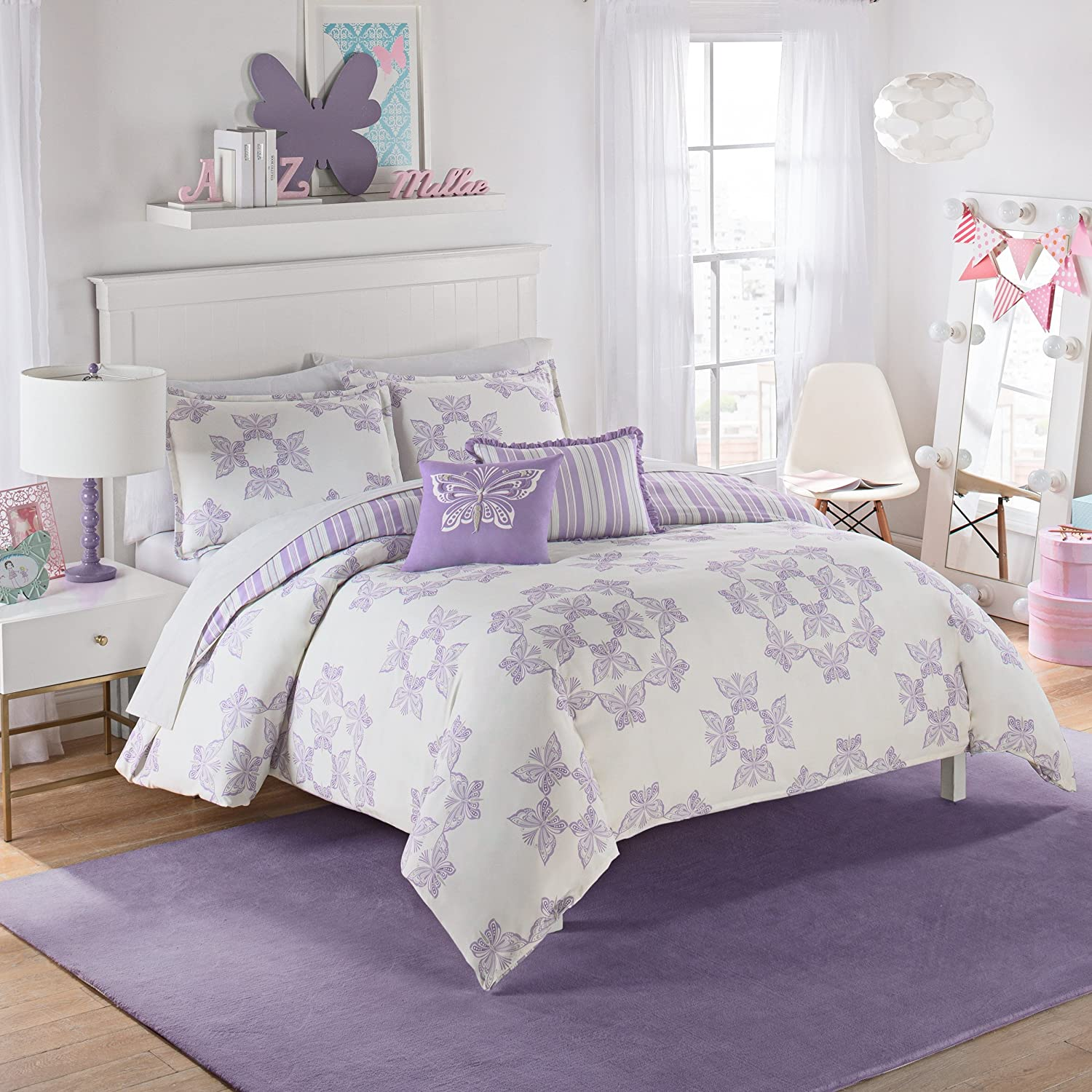Waverly Kids 16434BEDDTWNPUR Ipanema 86-inch by 68-Inch Reversible Twin Bedding Collection, Purple