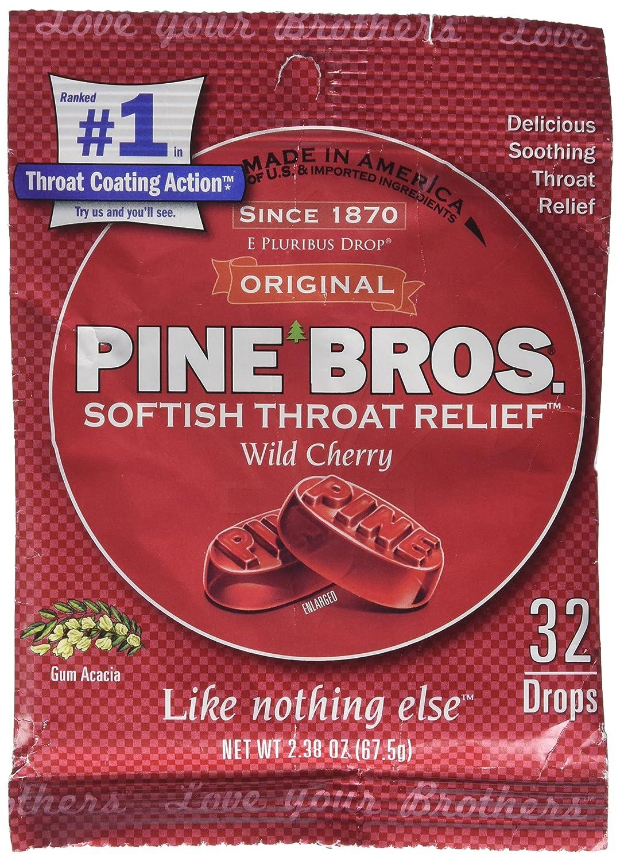 Pine Bros. Softish Throat Drops, Wild Cherry, 32 Count
