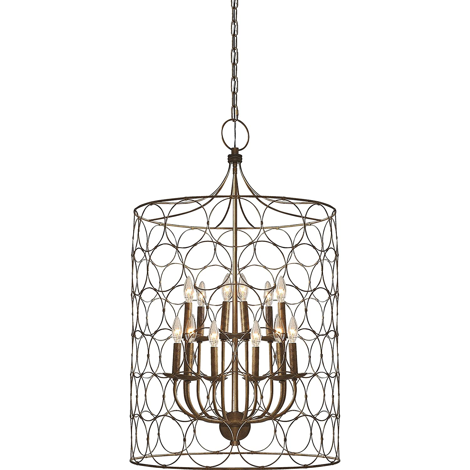 Flores circle design 12 light candle style chandelier uptown steel flores circle design 12 light candle style chandelier uptown steel gold cage lamp amazon arubaitofo Images