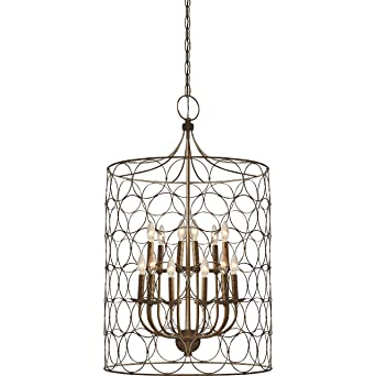 cage lighting. Flores Circle Design 12-Light Candle-Style Chandelier Uptown Steel Gold Cage Lamp - Amazon.com Lighting