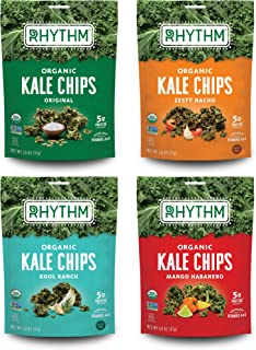 product image for Rhythm Superfoods Kale Chips, Variety Pack, Original/Zesty Nacho/Kool Ranch/Mango Habanero, Organic and Non-GMO, 2.0 Oz (Pack of 4), Vegan/Gluten-Free Superfood Snacks