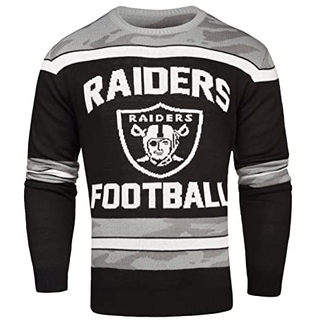 Amazoncom Oakland Raiders Ugly Glow In The Dark Sweater Mens