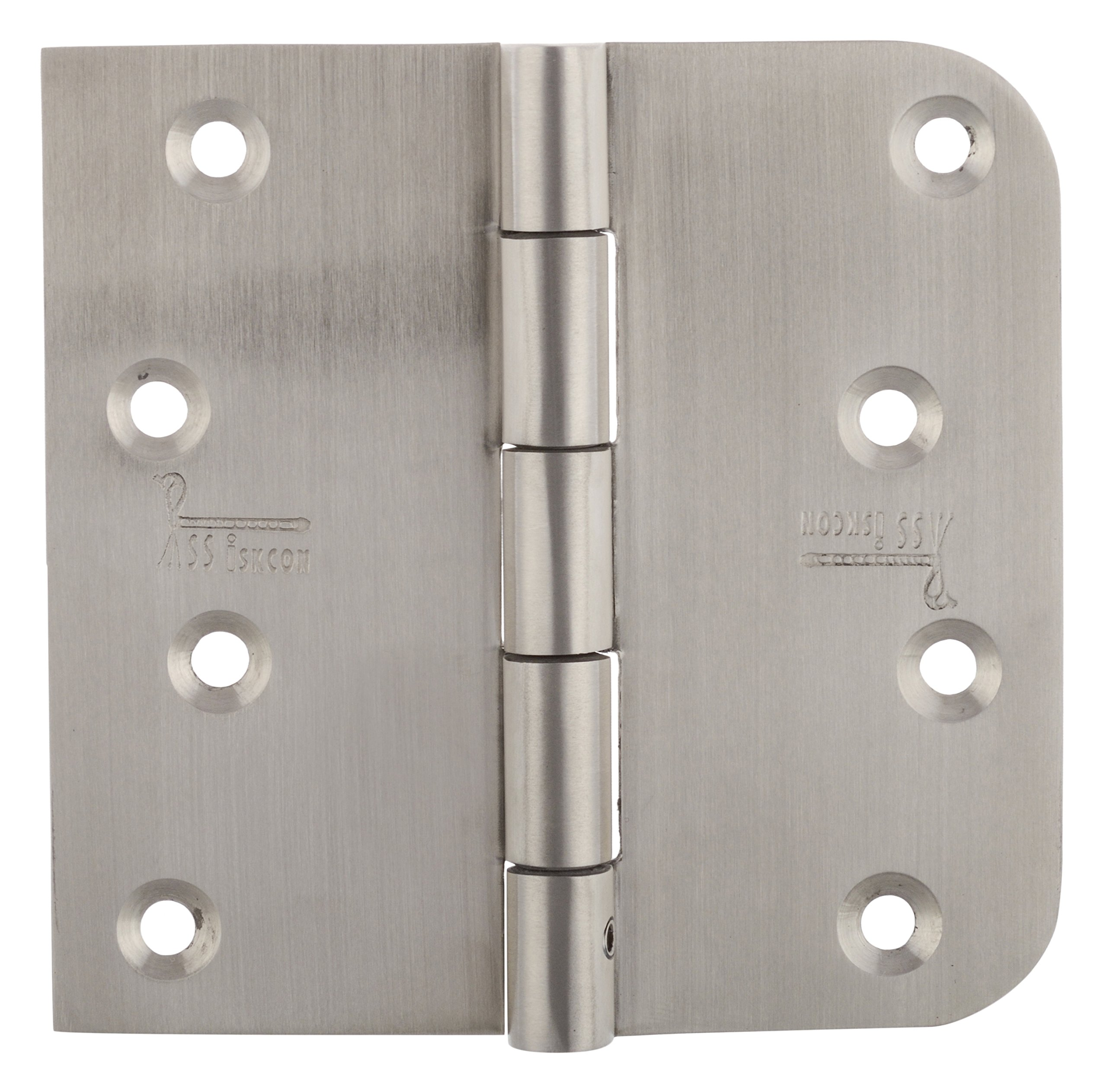 DOOR HINGES 3 PCS 4 INCH SQUARE 5/8 RADIUS SATIN FINISH 32D RESIDENTIAL DOORS WITH SECURITY PIN NRP REVERSIBLE TECHNIC WITH SELF DRILLING SCREWS