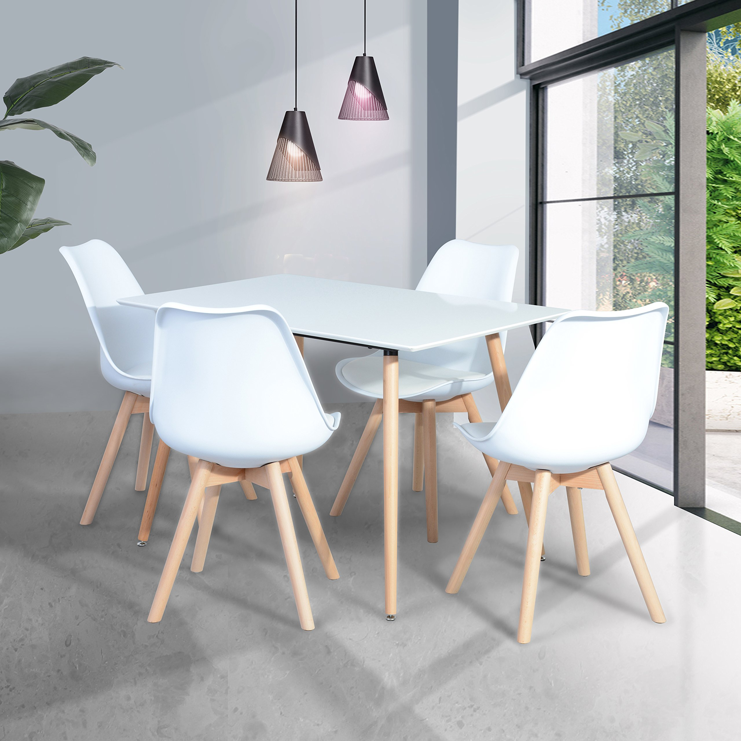 White Finish Top Steel Legs in Natural Color Rectangular Dining Table - Mid Century Style (Table only)