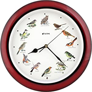 JUSTIME Lovely Collection 14-inch Plays 12 Popular North American Bird's Songs Wall Clock Mantel Clock Home Deco Multicolor(TCBD-OWL-R Dark Red)