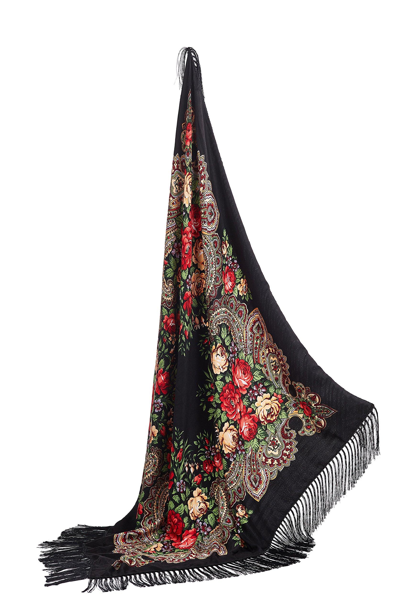 Ladies Tassel Shawl With Roses Ukrainian Polish Russian Floral Head Wrap 44'' x 44'' (black)