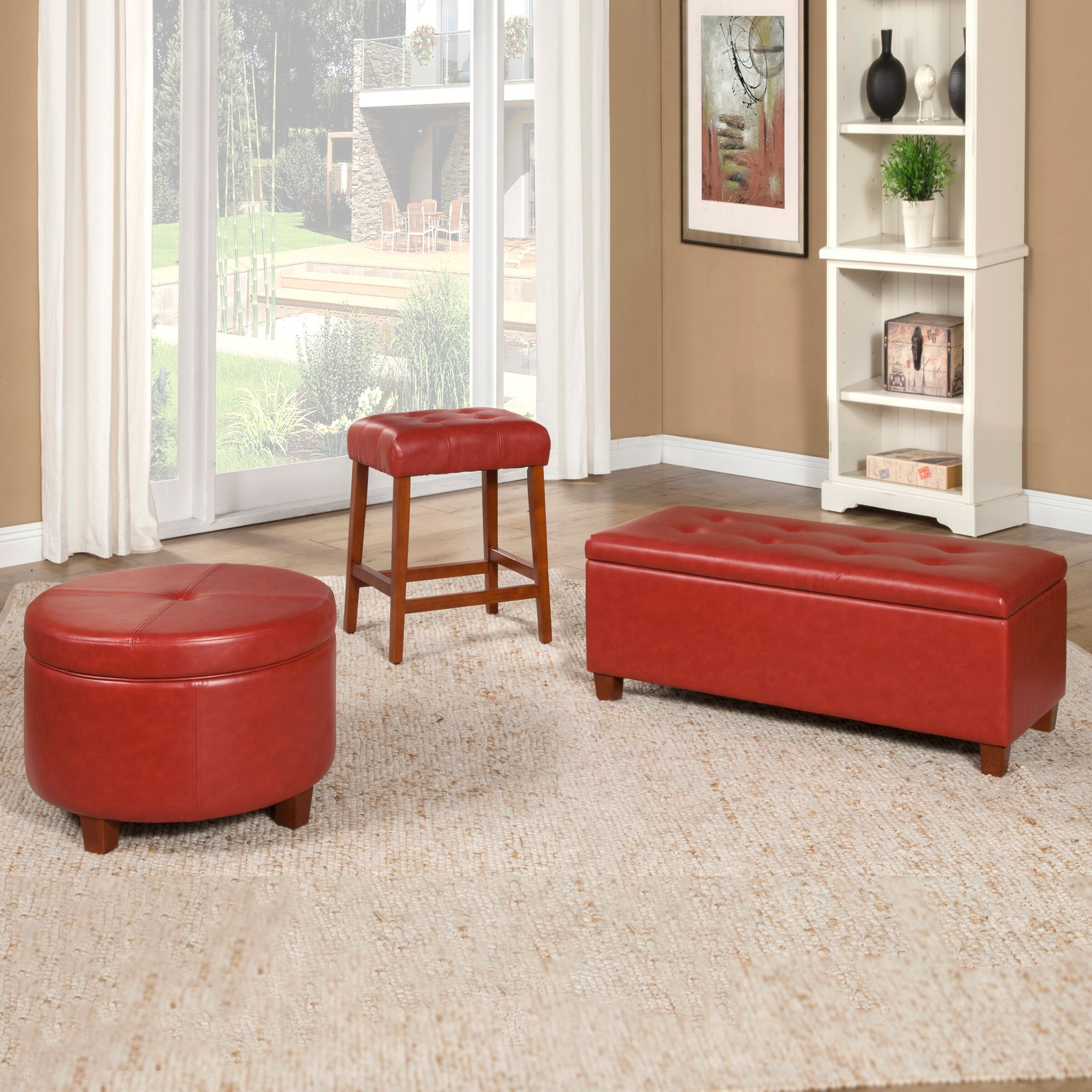 HomePop Leatherette Square Tufted Counter Height Stool, Cinnamon Red