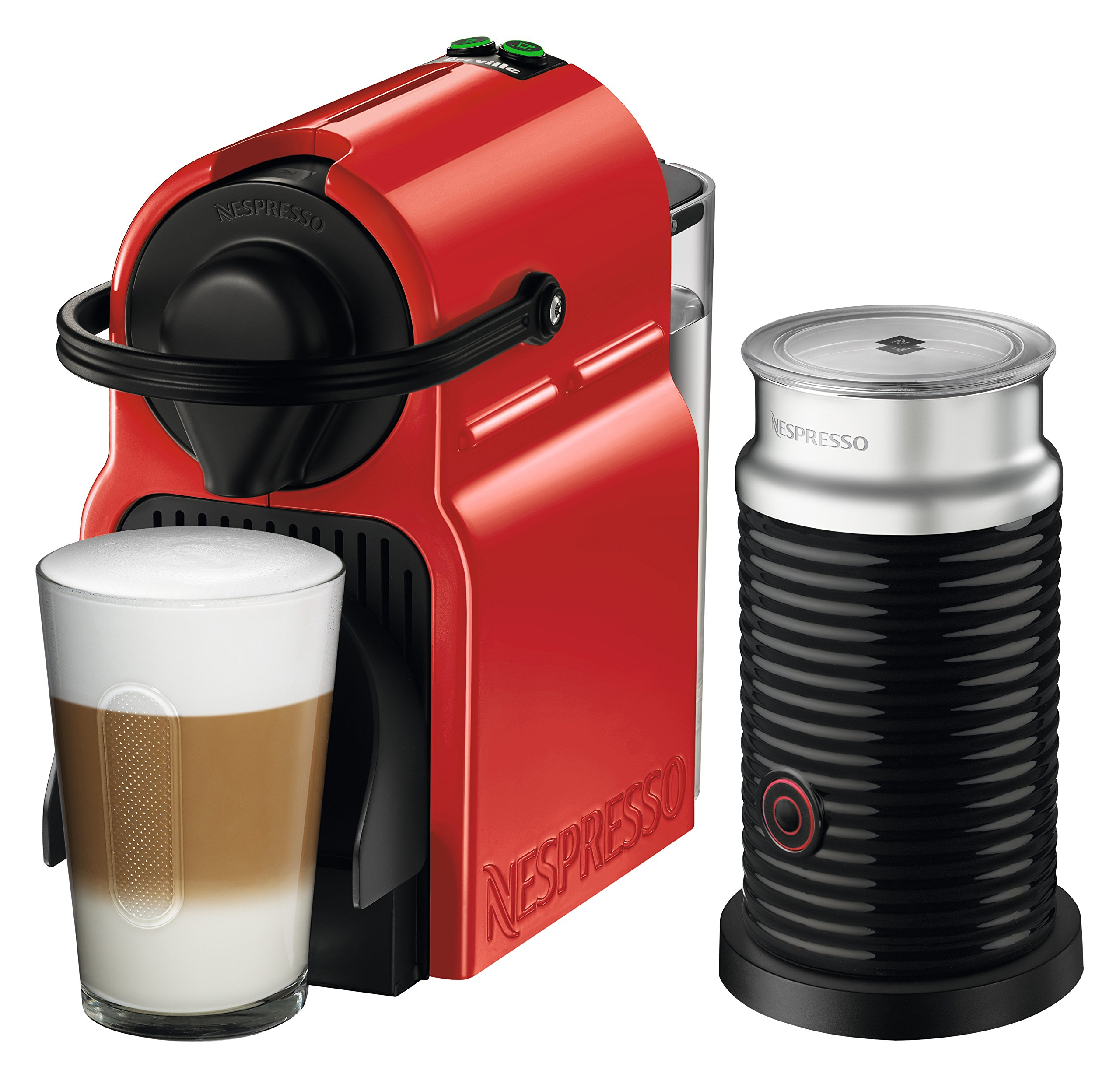 Nespresso Inissia Espresso Machine by Breville with Aeroccino, Red
