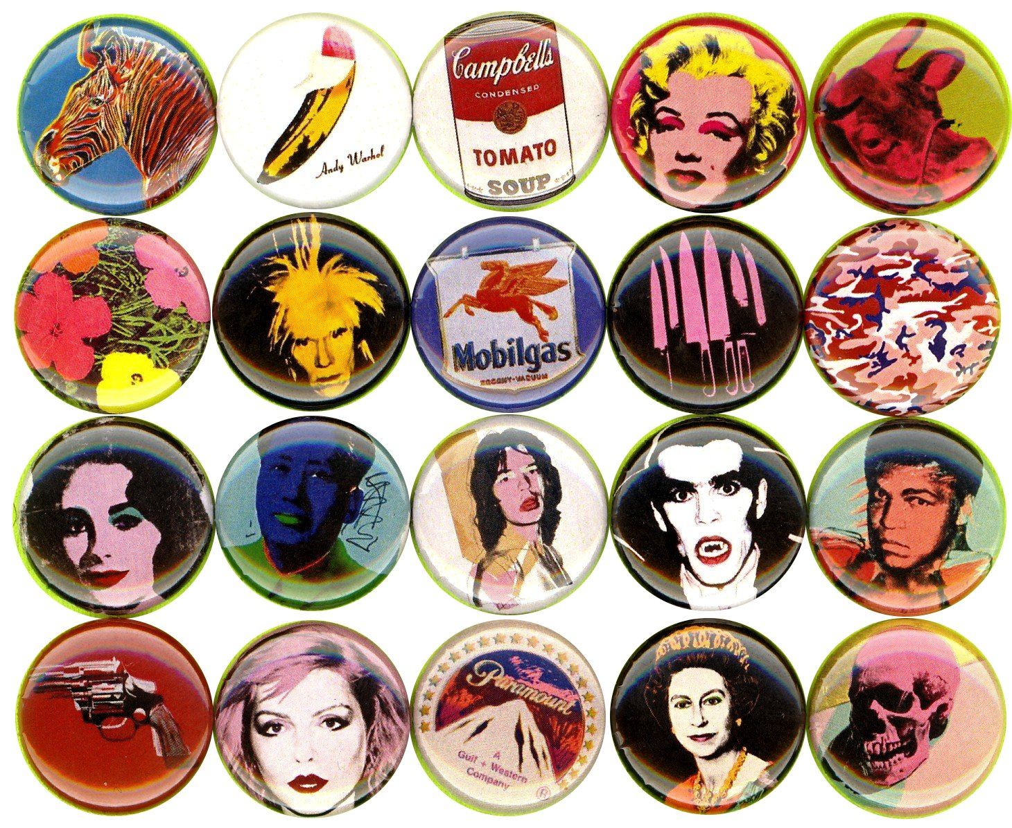 ANDY WARHOL 20 NEW 1 Inch (25mm) Set of 20 Pinback Buttons Badges Pins