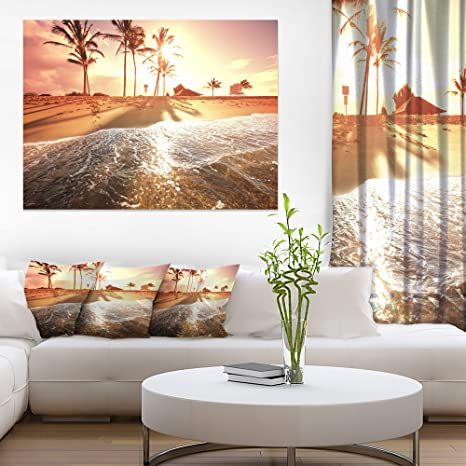 Amazon Com Colorful Tropical Beach With Palms Modern Beach Canvas Art Print Posters Prints