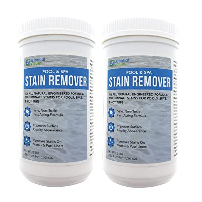 Essential Values 2 Pack Swimming Pool & Spa Stain Remover (4 LBS Total) - Natural & Safe, Works for Vinyl Liners, Fiberglass, Metals – Removes Rust & Other Tough Stains Without Harsh Chemicals : Garden & Outdoor