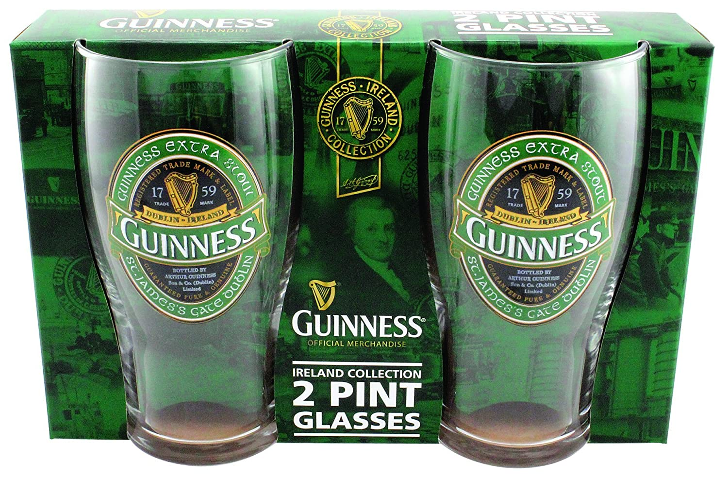 Guinness Green Collection Pint Glasses - Set of 2
