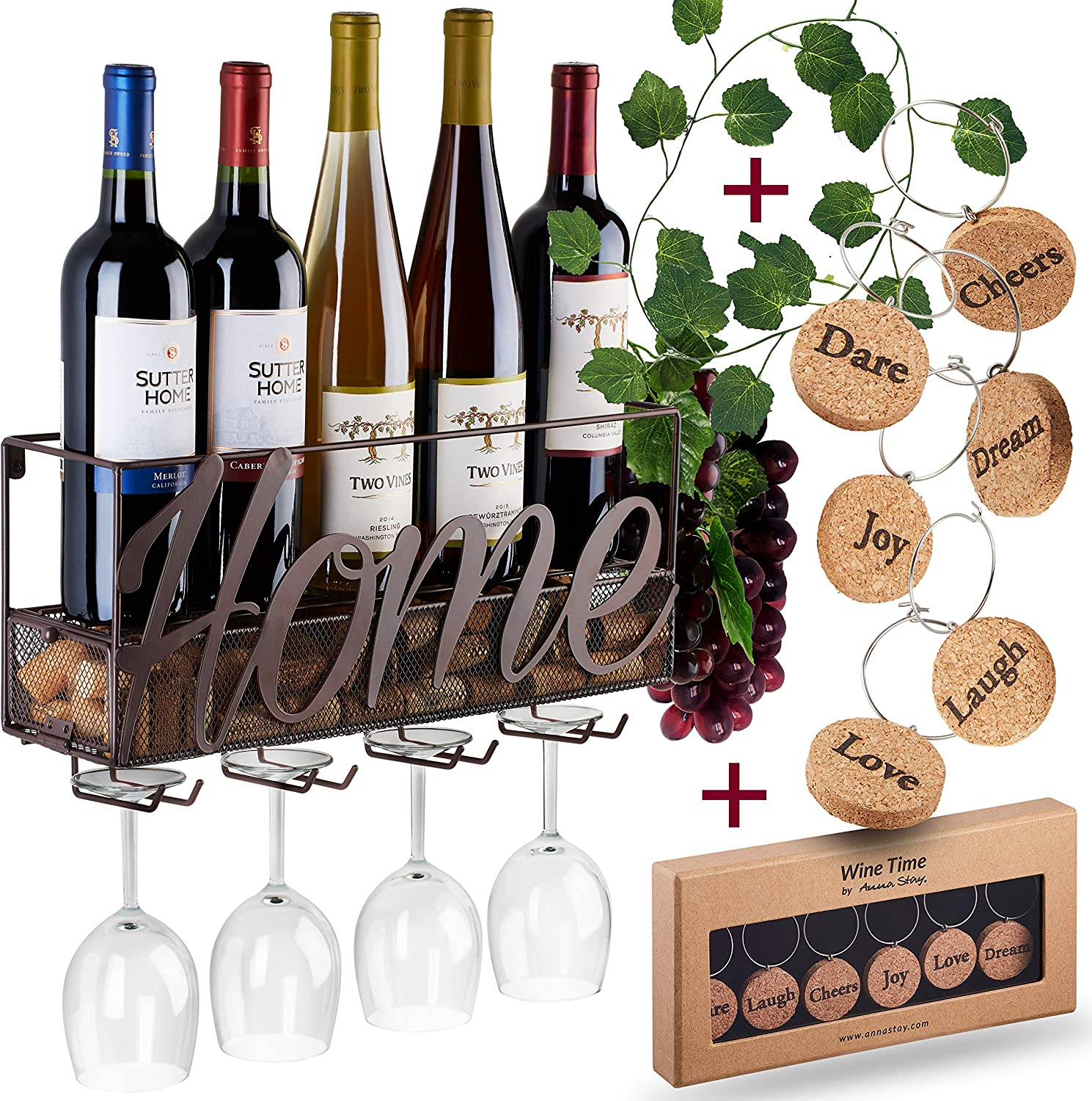 Wall mounted wine rack with bottle and glass holder.