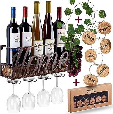 5 Bottle Wine Rack Black Metal Wall Mounted Storage Holder Shelf Kitchen Vine