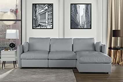 amazon com l shape living room real leather sectional sofa with
