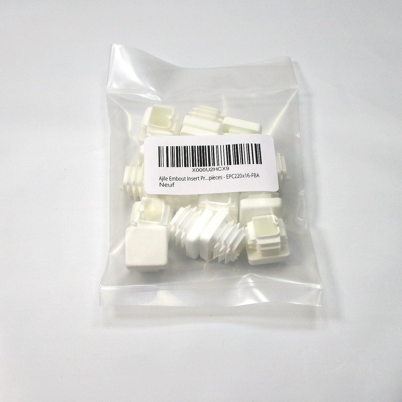 EPC230x16-FBA 16 Unidades Ajile Contera Interior Estriada Pie de Muebles para Tubo Cuadrado Conteras para Protecci/ón de Plastico BLANCO Para Tubo 30x30 mm