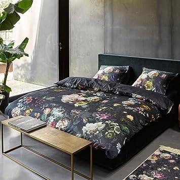 Essenza Satin Bettwäsche Fleur Farbe Nightblue 135x200cm 80x80