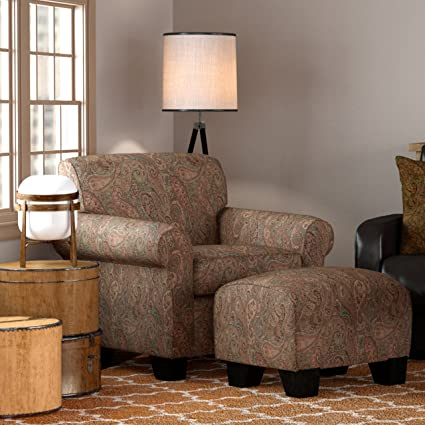 Domesis Winnetka Living Room Accent Chair w/Ottoman Set, Paisley