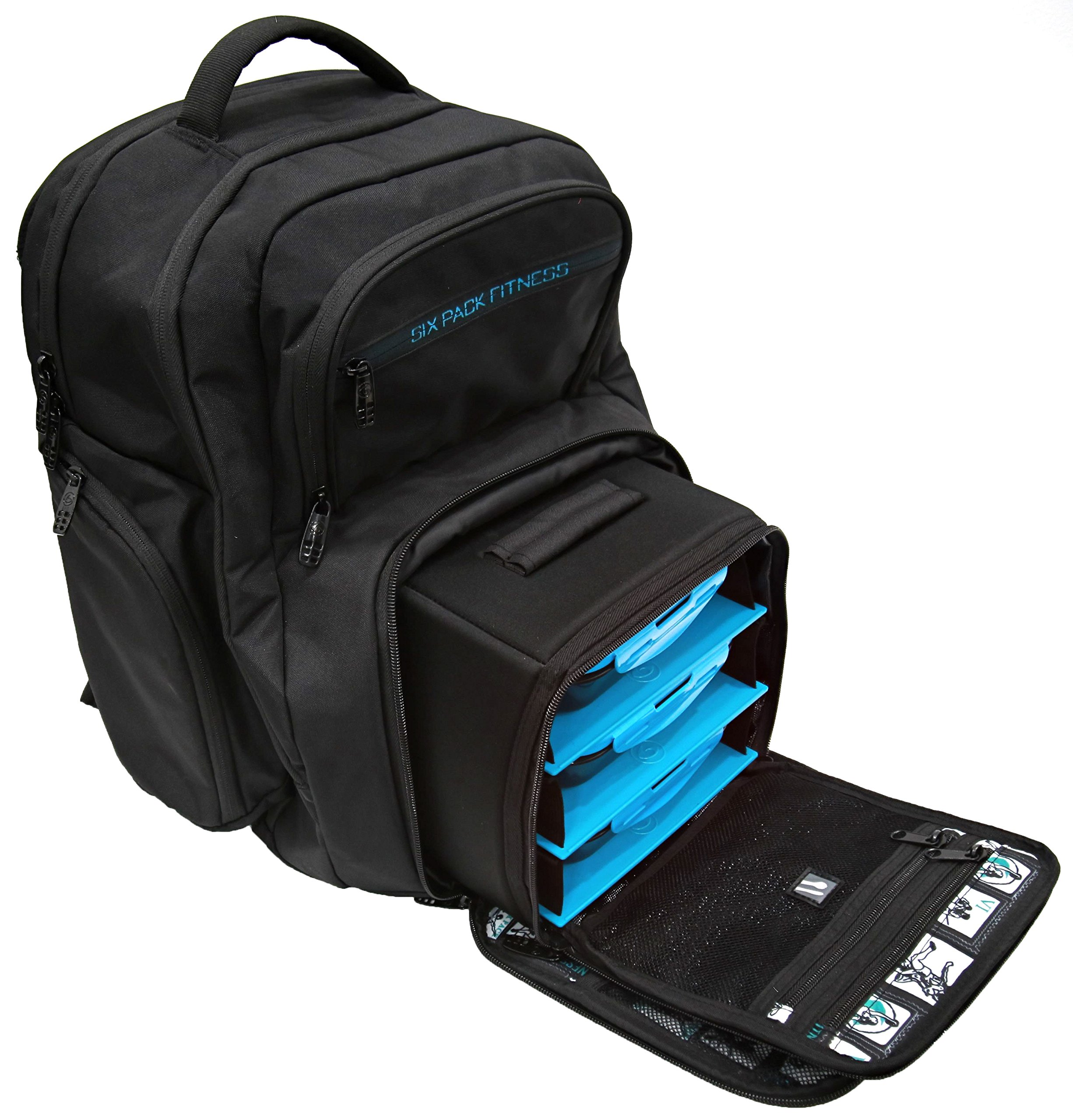 7850e0ccb4b6 6 Pack Fitness Expedition Backpack W  Removable Meal Management System 300  Black Neon Blue w  Bonus ZogoSportz Cyclone Shaker