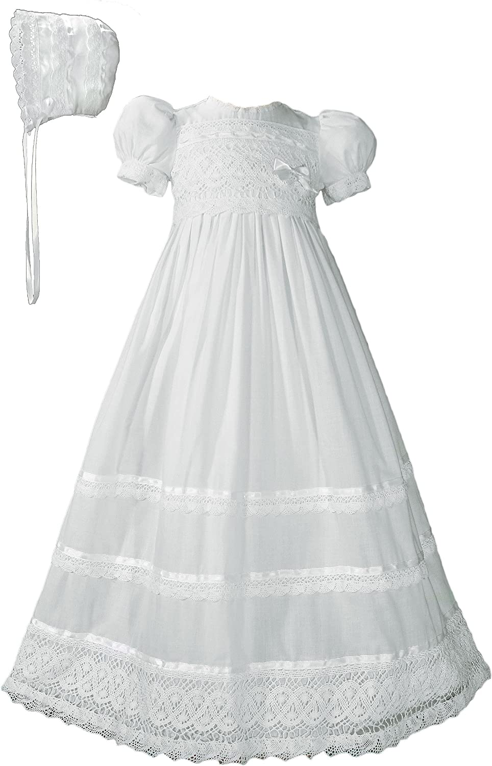 Image of Girls Cotton Short Sleeve Dress Christening Gown Baptism Gown with Laces and Ribbon