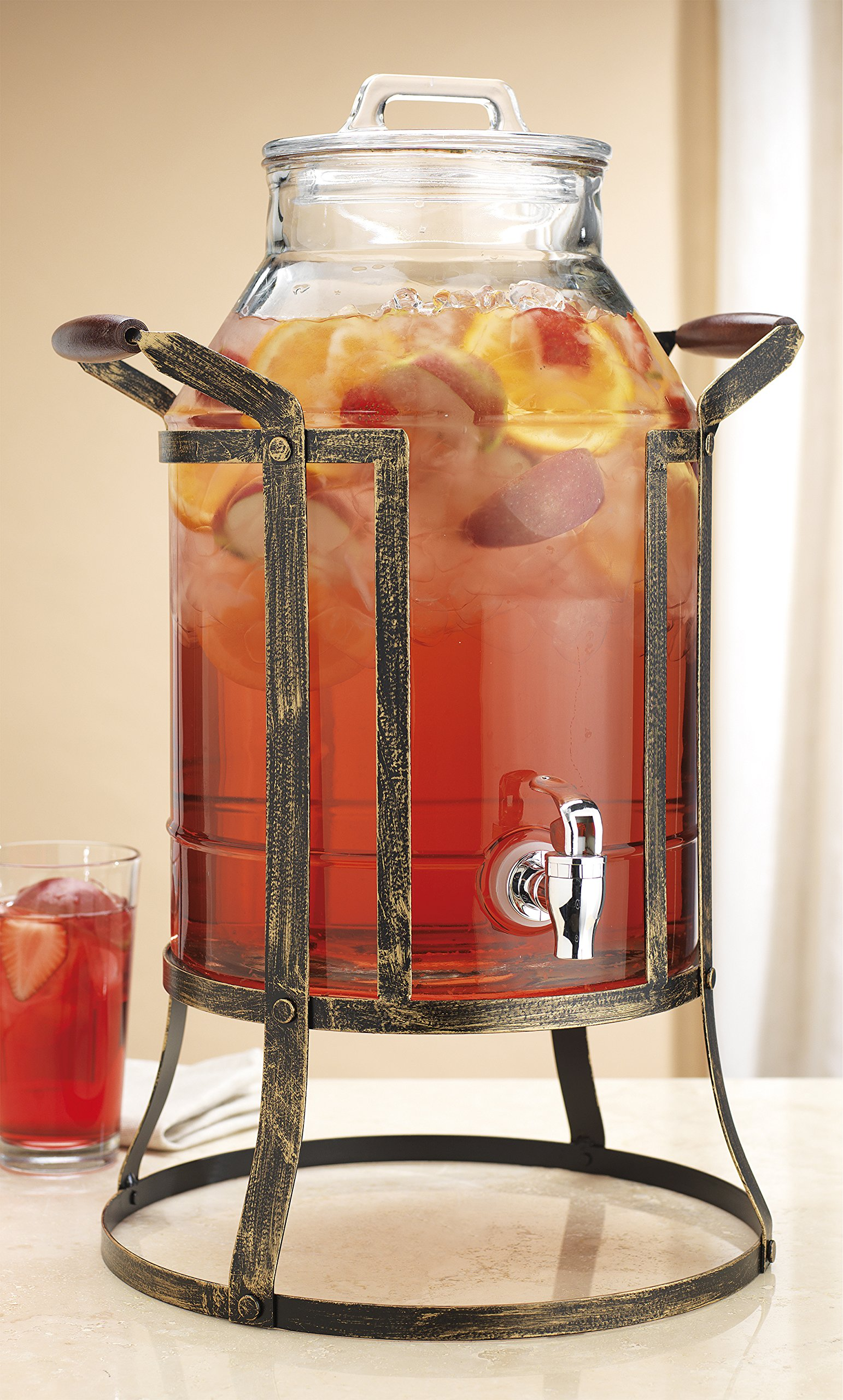 Classic Beverage Panel Drink Dispenser Durable Glass 3 Gallon with Spigot in Metal Caddy