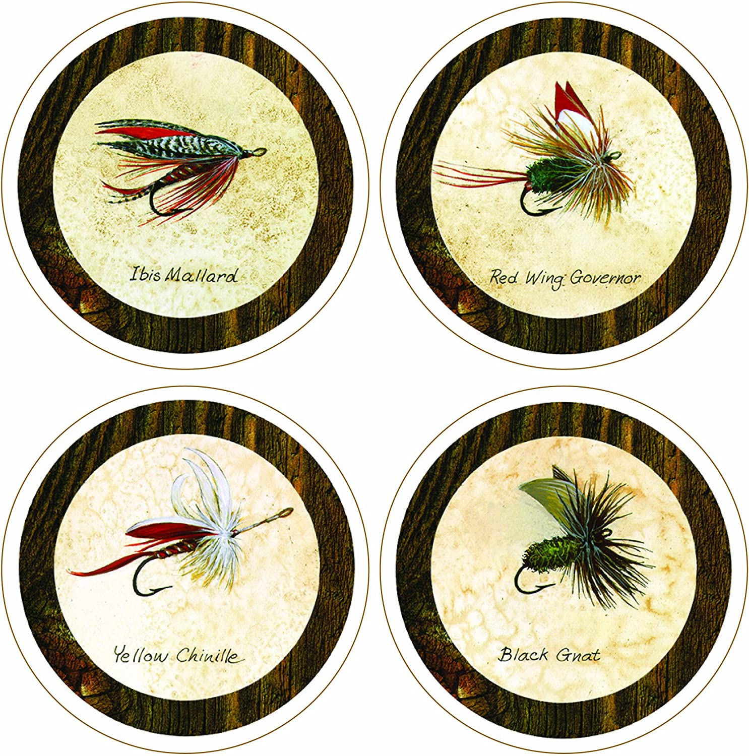 """CoasterStone """"Arnie Fisk-Fishing Flies Collection"""" Absorbent Coasters, 4-1/4-Inch, Set of 4"""