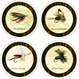 """CoasterStone AS1790 """"Arnie Fisk-Fishing Flies Collection"""" Absorbent Coasters, 4-1/4-Inch, Set of 4"""