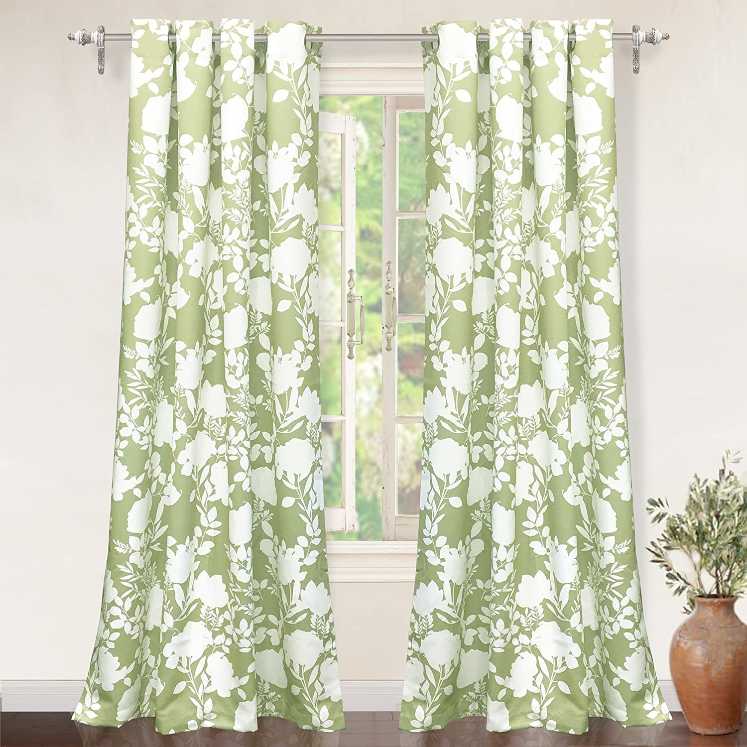 DriftAway Floral Delight Botanic Pattern Room Darkening/Thermal Insulated Grommet Unlined Window Curtains Olive Green