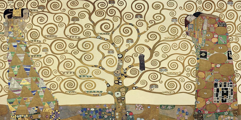 GUSTAV KLIMT The Tree of Life L'albero della vita 100x50 cm Quadro stampa su pannello in legno MDF Bordo Nero luxhomedecor