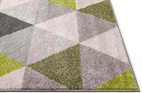 "Well Woven Isometry Green Grey Modern Geometric Triangle Pattern Area Rug Soft Shed Free 8 x 11 7'10"" x 9'10"" Easy to Clean Stain Resistant"