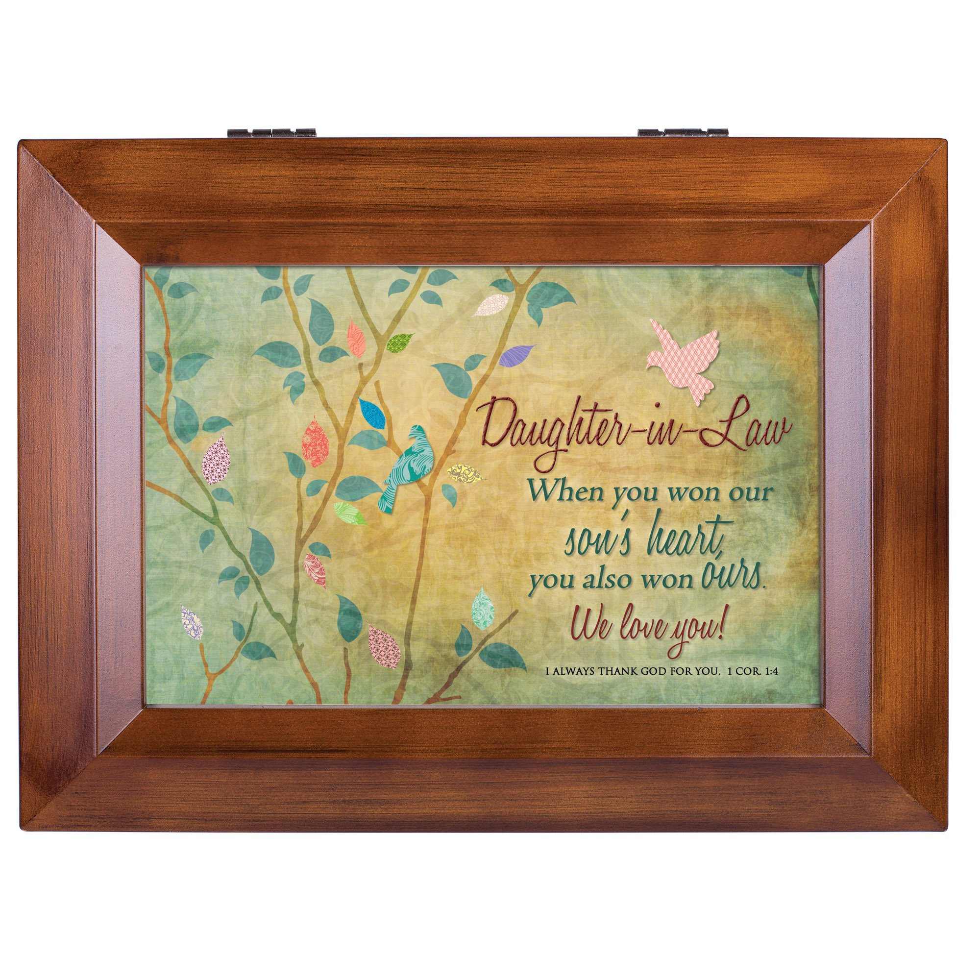 Cottage Garden Daughter-in-Law We Love You Wood Finish Jewelry Music Box - Plays Tune You Are My Sunshine by Cottage Garden (Image #2)