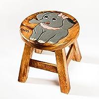 Tabouret solide pour enfant, bois, Motif: éléphant