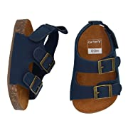 Carter's Boys' Sandals Flat, Navy, Cork Sole, 0-3 Months, Size 1 Regular US Infant
