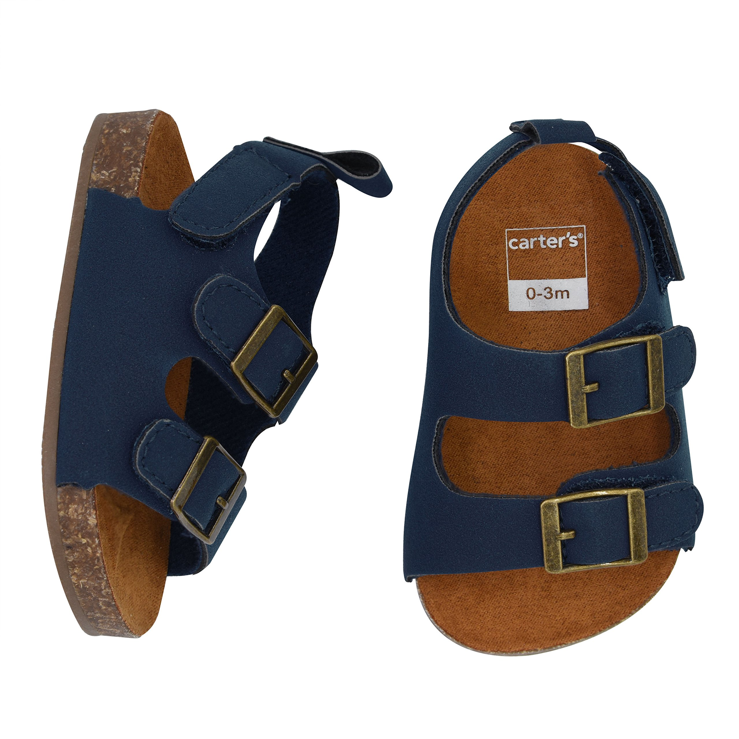 Carter's Boys' Flat Sandal, Navy, Cork Sole, 0-3 Months, Size 1 Regular US Infant