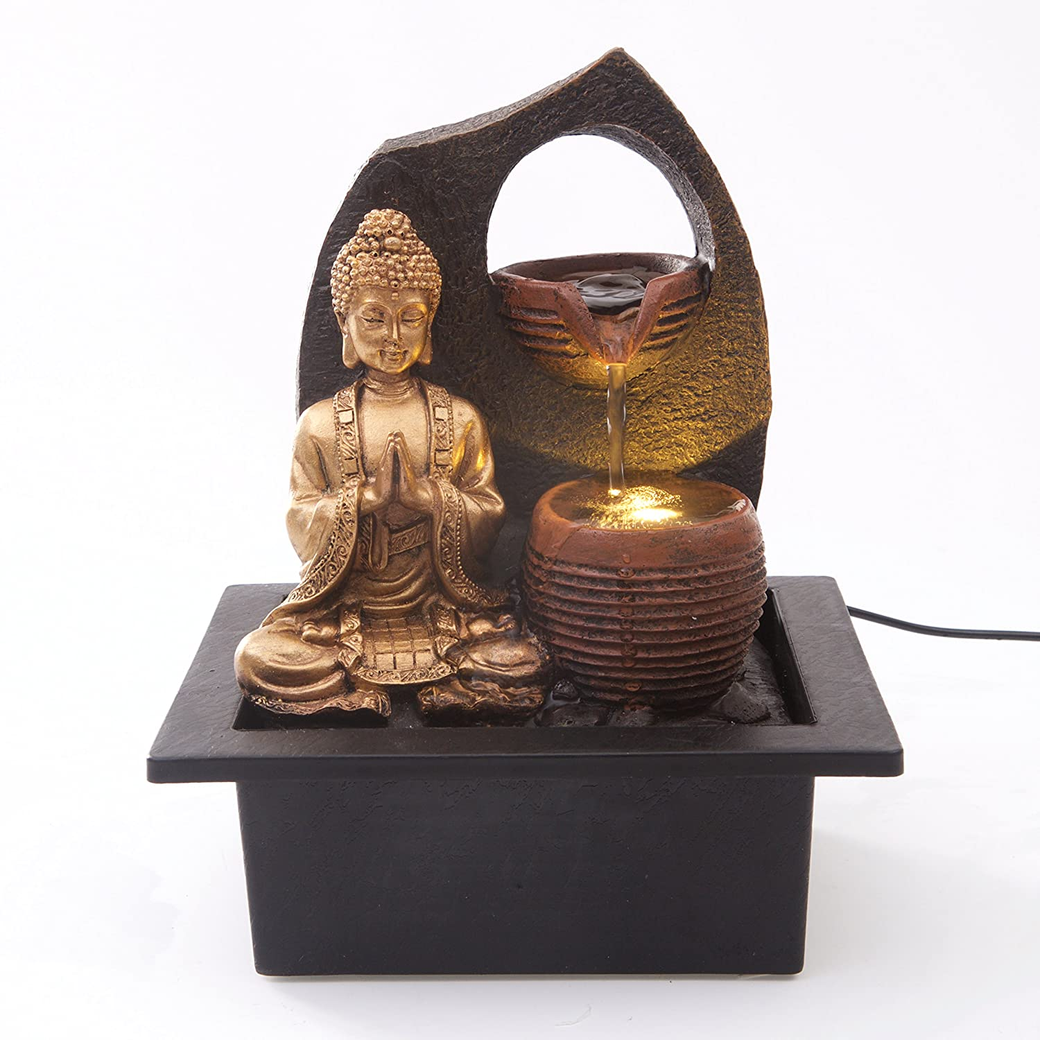 Golden Buddha with 2 Water Cups Indoor Water Fountain with LED Light | Size 21 * 17.5 * 24 Cm | 3 Pin UK Plug Included |
