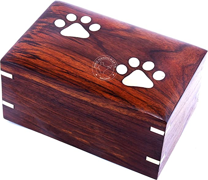 Hind Handicrafts Photo Wooden Cremation Box Urn for Human Ashes Adult 9 x 6 x 4.5-160 lbs or 72kg, Maroon Pet Memorial Urn for Dog Cat Ashes