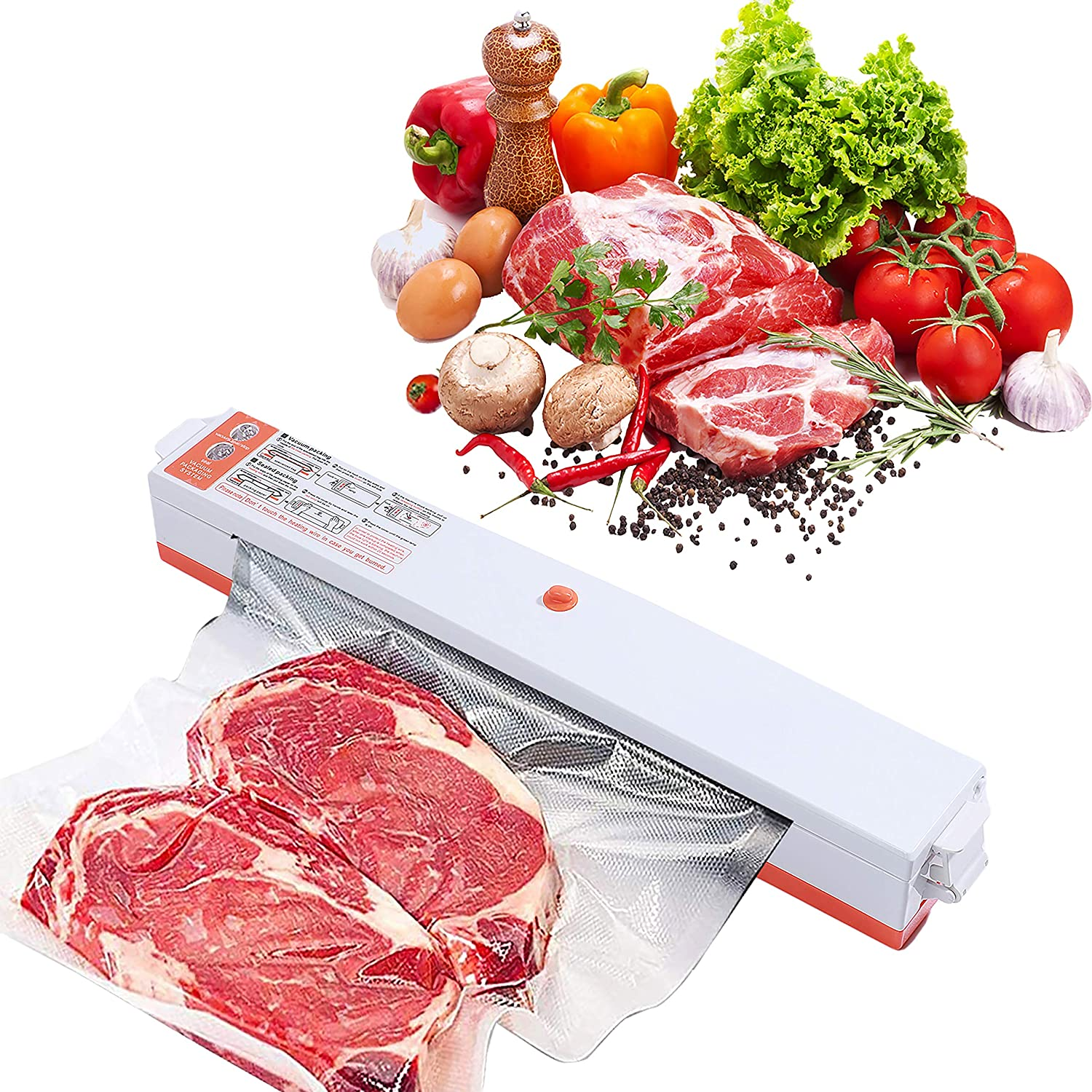Vacuum Sealer Machine,Multifunctional Automatic Food Sealer,Seal a Meal,Food-saving Packing (14*Vacuum Sealer Bags for Food Storage Included)