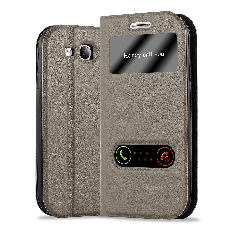 Cadorabo Funda Libro para Samsung Galaxy S3 / S3 Neo en MARRÓN Piedra - Cubierta Proteccíon con Cierre Magnético, Función de Suporte y 2 Ventanas- ...