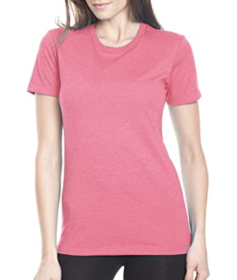 Next Level Ladies CVC Crew Tee (6610) -HOT PINK -XS