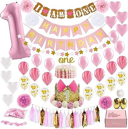 Amazon.com: Decoración para primer cumpleaños con corona de ...