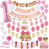 Baby Girl First Birthday Decorations with Birthday Crown - 1st Birthday Girl Decorations - Pink and Gold Party Supplies - Number One, Heart and Confetti Balloons, Happy Birthday Banner. Premium