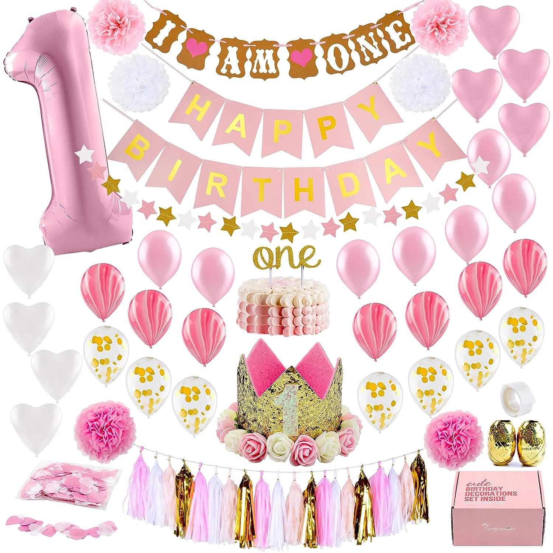 1St Birthday Girl Decorations mit Birthday Crown- Baby First Birthday Decorations Girl - Pink und Gold Party Supplies - ein Balloon, Heart und Confetti Balloons, Happy Birthday Banner ein Cake Topper