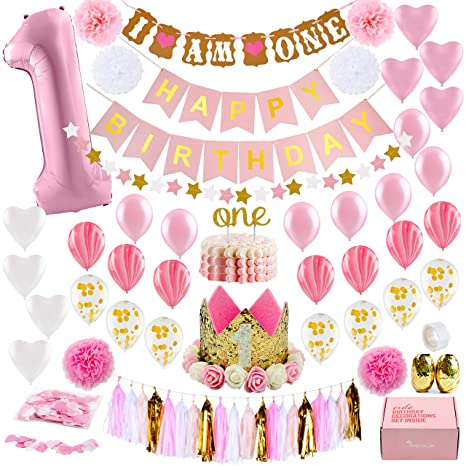 1st Birthday Themes Girl.1st Birthday Girl Decorations With Birthday Crown Baby First Birthday Decorations Girl Pink And Gold Party Supplies One Balloon Heart And