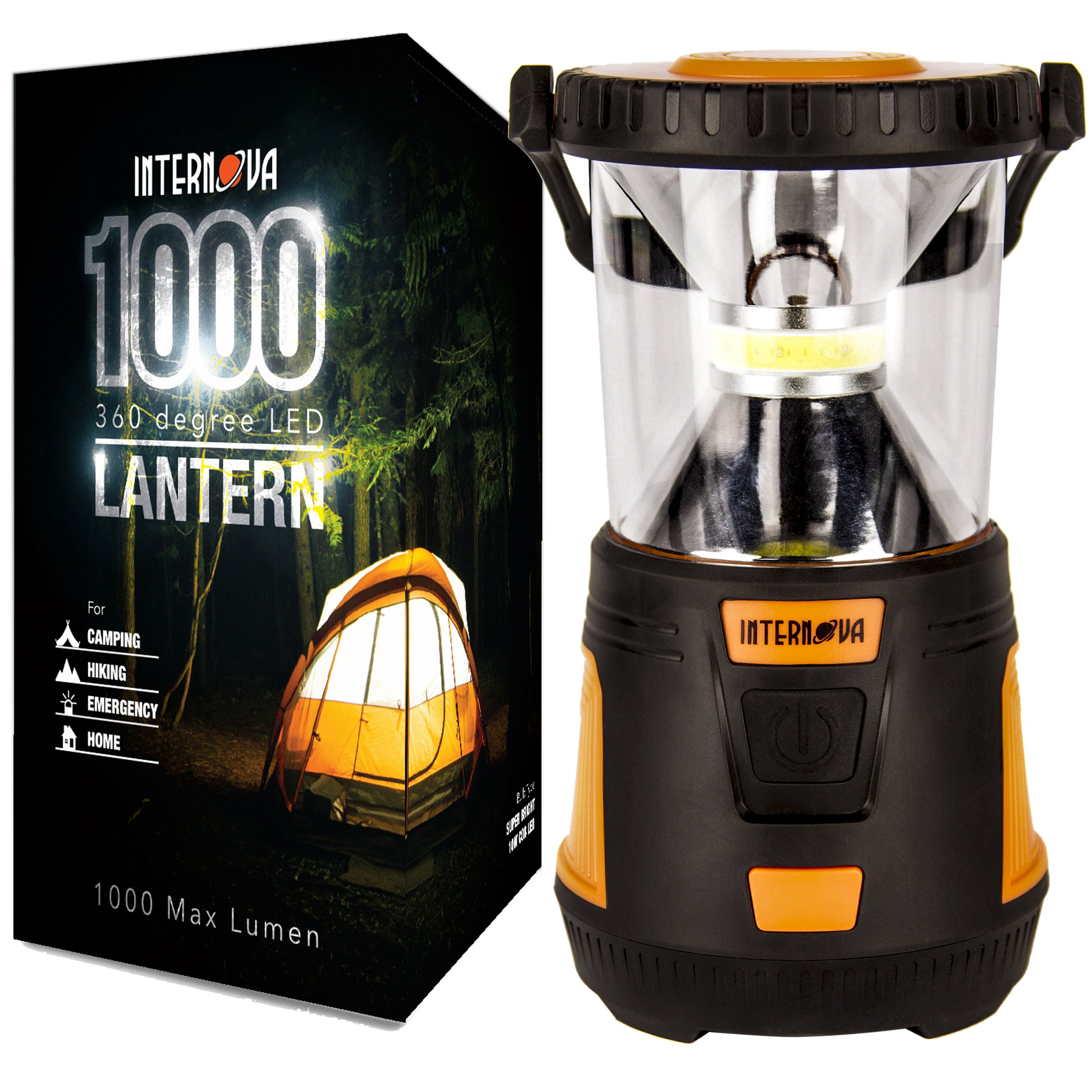 Internova 1000 LED Camping Lantern - Massive Brightness with Fully Adjustable 360 Arc Lighting - Emergency - Backpacking - Construction - Hiking - Auto - Home - College (Cadmium Orange) by Internova