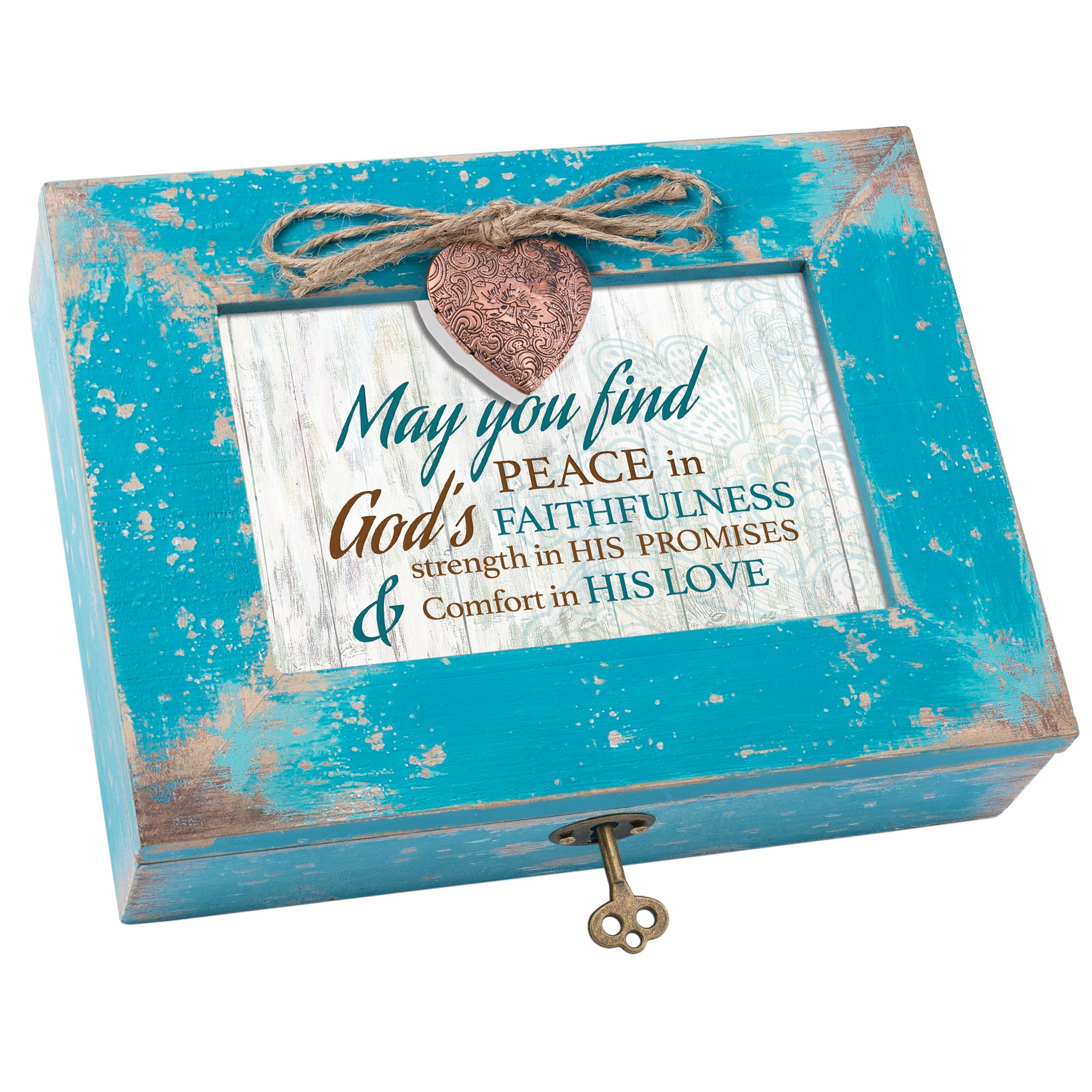 Cottage Garden Peace In God Comfort In Love Distressed Teal Blue Wood Locket Music Box Plays Amazing Grace