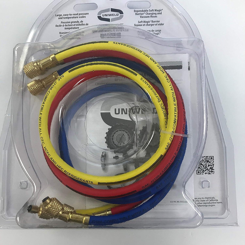 R507 2VLV with 3ft Soft Magic Barrier Hoses LPF Gauges Uniweld QS2L3SM-5 Brass Manifold R134A// R404A