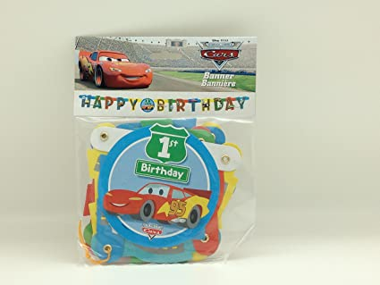 Amazon.com: Disney Cars 1er Cumpleaños Banner 1 ct: Toys & Games