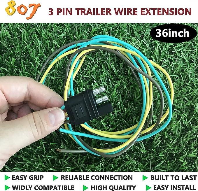 Amazon.com: 807 Trailer Wire Plug 36inch 3 Way Flat 3 Pin Universal Wiring  Connector(3 Way Flat Plug): AutomotiveAmazon.com