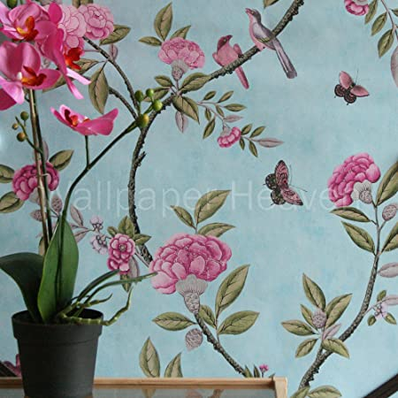 Chinoiserie Duck Egg Wallpaper In Blue Green And Pink Full Roll