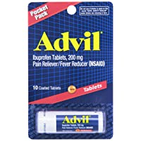 Advil Coated Tablets Pain Reliever and Fever Reducer, Ibuprofen 200mg, Vial, Fast Pain Relief, Pocket Pack, 10 Count